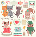 A set of illustrations with cute cats Royalty Free Stock Photo