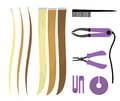 Set of illustrations of icons of hair extensions. Hairdresser tools for the procedure. Overhead curls