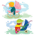 Set illustrations of little kids and baby carriage, stroller