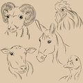 Set of illustrations pets farm agronomy monochrome it can be used in the design where you need a little color Royalty Free Stock Photos