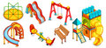 A set of illustrations of the playground. Equipment for playing.