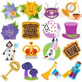 Set of illustrations on the theme of fairy tale Alice`s Adventures in Wonderland. Characters and objects Royalty Free Stock Photo
