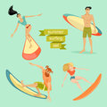 Set of  young surfing people Royalty Free Stock Photo
