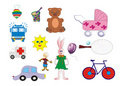 Set ilustrations colors toys Stock Images