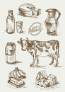 Set of images of dairy products.