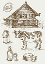 Set of images of dairy products and rural house. Cow, cottage, bottle and a glass, milk cans and label.