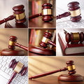 Set of images of the gavel in courtroom and computer keyboard Stock Photo