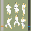 Set of images of karate various and hieroglyphs Stock Images