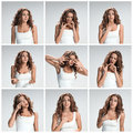 The  set from images of pleading woman Royalty Free Stock Photo
