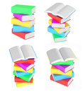 Set images of stacks of multicolored books Royalty Free Stock Photo