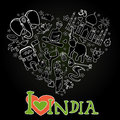 Set of India heart shaped Royalty Free Stock Photo