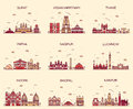 Set Indian Cities Vector Illus...