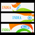 Set of indian flag headers vector Royalty Free Stock Photos