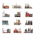 Set of industrial factory and plant buildings. Collection manufacturers with smoking chimneys. Vector colorful