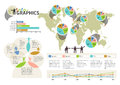 Set of infographic elements visual statistic info information on world map eps vector transparencies used the map image is derived Royalty Free Stock Images