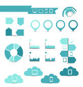 Set of infographic elements for your documents and reports with illustration electronic devices Stock Photo