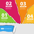 Set for infographics with colored papers with edge torn edges Royalty Free Stock Images