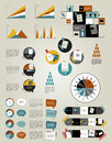 Set infographics flat design elements, folders, speech bubbles, Royalty Free Stock Photo