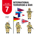 Set for infographics #7: international terrorism and war. Islamic militants and terrorists. Soldiers and military equipment.