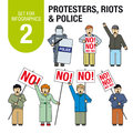 Set for infographics # 2: Protesters, riots, police.