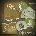 Set of infographics from torn pieces of paper in v vintage style scrapbooking Royalty Free Stock Photos