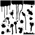 A set of ink blots of various shapes. Vector.