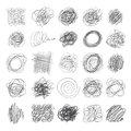Set of ink lines of hand drawn textures, scribbles of pen Royalty Free Stock Photo