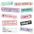 Set of ink stamps for a secret documents Royalty Free Stock Image