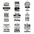 Set of Inspirational quotes about work and team vector design isolated on white background. Can be used on t-shirts