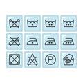 Set of instruction laundry icons, care icons, washing symbols Royalty Free Stock Photo