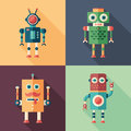 Set of intelligent robots flat square icons with long shadows colorful Stock Image