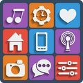 Set of interface web and mobile icons vector in flat design Royalty Free Stock Photography