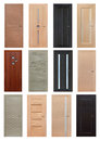 Set of interior wooden doors different with knobs and platbands Stock Photo