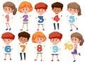 A set of international kids holding number