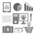 Set of internet investor at home icons stock vector Royalty Free Stock Photo
