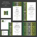 Set of the invitation cards with the green ornament. Store opening. Collection: cards, envelope, business card. Royalty Free Stock Photo