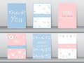 Set of invitation cards,thank you cards,poster,template,greeting cards,animals,birds,flowers,Vector illustrations Royalty Free Stock Photo
