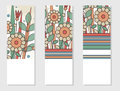 Set of 3 invitation or posters in retro style. Geometric floral elements.