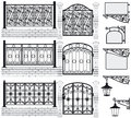 Set of iron wrought fences gates signboards lan and lanterns with decorative ornaments vector illustration Royalty Free Stock Photo
