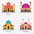 set of Islamic Mosque / Masjid for Muslim pray icon