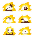 Set island and palms collection illustrations sunshine Stock Photography
