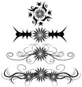 Set of isolated Abstract tattoos with flowers Royalty Free Stock Photo