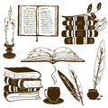 Set of isolated book icons and vintage writting attributes Stock Images