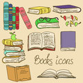 Set of isolated books icons cartoon Royalty Free Stock Images