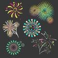 Set of isolated brightly celebration firework