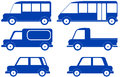 Set isolated cars blue silhouette Royalty Free Stock Photos