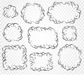 Set of isolated cartoon speech bubbles, frames of smoke or steam, comics dialogue cloud, vector illustration on white Royalty Free Stock Photo
