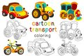 Set of isolated cartoon transport with eyes part 2