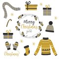 Set of isolated Christmas gold clothes and gift