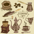 Set of isolated coffee icons hand drawn vintage Royalty Free Stock Photo